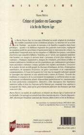 Crime et justice en Gascogne à la fin du Moyen Age - 4ème de couverture - Format classique