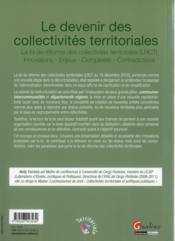 Le devenir des collectivités territoriales ; la loi de réforme des collectivités territoriales - 4ème de couverture - Format classique