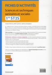 Sciences et techniques sanitaires et sociales ; 1ère ST2S ; pôles 1 et 3 ; TD-TP (3e édition) - 4ème de couverture - Format classique