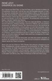 Disgrâce du signe ; essai sur Paul de Tarse - 4ème de couverture - Format classique