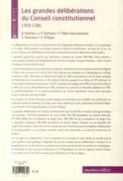 Les grandes déliberations du Conseil constitutionnel, 1958-1986 (2e édition) - 4ème de couverture - Format classique