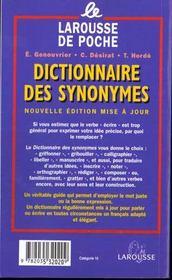 LAROUSSE DE POCHE ; dictionnaire des synonymes - 4ème de couverture - Format classique