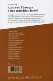 REVUE PROJET ASSAS N.344 ; février 2015 ; aura-t-on l'énergie d'une transition juste ? - 4ème de couverture - Format classique