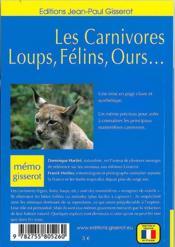 Les carnivores, loups, félins, ours... - 4ème de couverture - Format classique