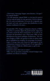 Qui dira la souffrance d'Aragon ? - 4ème de couverture - Format classique