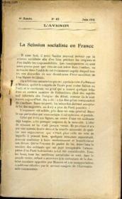 L'AVENIR - N°62 - Juin 1921 - LA SCISSION SOCIALISTE EN FRANCE. - Couverture - Format classique