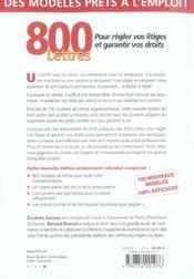 800 lettres pour regler vos litiges - 4ème de couverture - Format classique