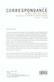 Correspondance Entre Henri Parisot Et Mavio Prassinos - 4ème de couverture - Format classique