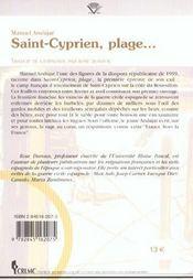 Saint-Cyprien, Plage... - 4ème de couverture - Format classique