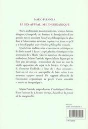 Le Sex-Appeal De L'Inorganique - 4ème de couverture - Format classique