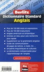 Dictionnaire standard Berlitz ; anglais - 4ème de couverture - Format classique