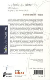 Le choix des aliments ; informations et pratiques alimentaires ; de la fin du Moyen-âge à nos jours - 4ème de couverture - Format classique
