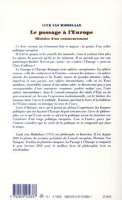 Le passage à l'Europe ; histoire d'un commencement - 4ème de couverture - Format classique