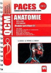 Qcm paces anatomie module specifique s1 2012 - Couverture - Format classique