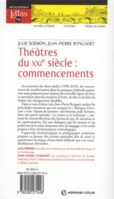 Théâtre du XXIe siècle - 4ème de couverture - Format classique