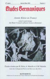 Revue Etudes Germaniques N.265 - Couverture - Format classique