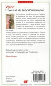 L'eventail de lady Windermere - 4ème de couverture - Format classique