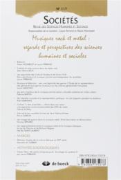 Revue sociétés N.117 ; musiques rock et métal - 4ème de couverture - Format classique
