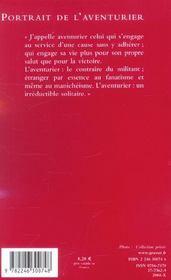 Portrait de l'aventurier ; Lawrence, Malraux, von Salomon - 4ème de couverture - Format classique