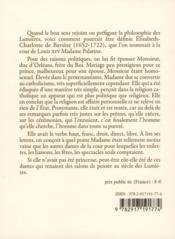 Lettres sur la religion et sur la cour de Louis XIV - 4ème de couverture - Format classique