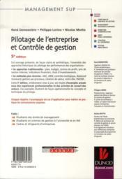 Pilotage de l'entreprise et contrôle de gestion (5e édition) - 4ème de couverture - Format classique