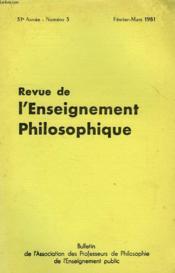 REVUE DE L'ENSEIGNEMENT PHILOSOPHIQUE, 31e ANNEE, N° 3, FEV.-MARS 1981 - Couverture - Format classique