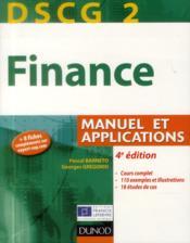 DSCG 2 ; finance ; manuel et applications (4e édition) - Couverture - Format classique