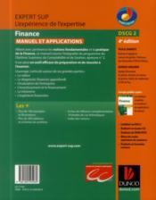 DSCG 2 ; finance ; manuel et applications (4e édition) - 4ème de couverture - Format classique