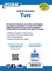 GUIDES DE CONVERSATION ; turc - 4ème de couverture - Format classique