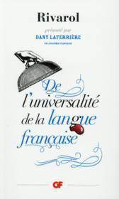 De l'universalité de la langue française - Couverture - Format classique