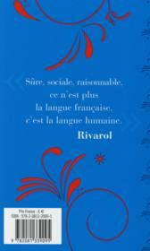 De l'universalité de la langue française - 4ème de couverture - Format classique