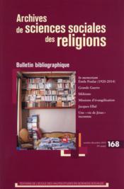 Archives de sciences sociales des religions N.168 - Couverture - Format classique