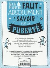 La puberté, c'est génial (ou presque) ! - 4ème de couverture - Format classique