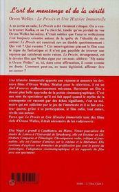 L'Art Du Mensonge Et De La Verite, Orson Welles : Le Proces, Une Histoire Immort - 4ème de couverture - Format classique