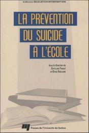 La prévention du suicide à l'école - Couverture - Format classique