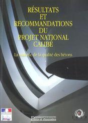 Resultats et recommendations du projet national calibe maitrise qualitebetons - Intérieur - Format classique