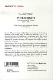 L'herbier noir ; quarante années de poèmes, 1951-1992 - 4ème de couverture - Format classique