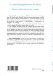 La sélection des professeurs des écoles ; regard sociologique sur une pratique - Couverture - Format classique