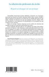 La sélection des professeurs des écoles ; regard sociologique sur une pratique - 4ème de couverture - Format classique