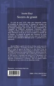 Secrets de granit - 4ème de couverture - Format classique