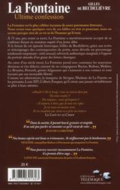 La Fontaine, ultime confession - 4ème de couverture - Format classique