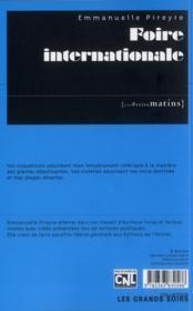 Foire internationale - 4ème de couverture - Format classique