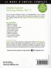 Tablettes Android ; Galaxy Tab 2 - 4ème de couverture - Format classique