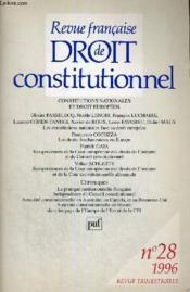 Revue Francaise De Droit Constitutionnel - 1996 - N°28 - Revue Trimestrielle Publiee Avec Le Concours Du Centre National Du Livre - Couverture - Format classique