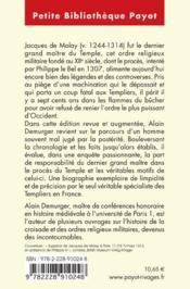 Jacques de Molay ; le crépuscule des templiers - 4ème de couverture - Format classique
