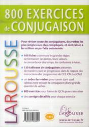 800 exercices de conjugaison - 4ème de couverture - Format classique