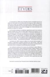 REVUE ETUDES ; la guerre ; contreverses étiques et spirituelles 1914-2014 - 4ème de couverture - Format classique