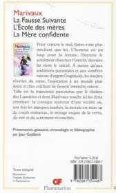 La fausse suivante ; l'école des mères ; la mère confidente - 4ème de couverture - Format classique