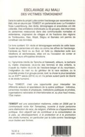 Esclavage au Mali, des victimes témoigent - 4ème de couverture - Format classique