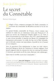 Le secret du connétable ; la véridique hsitoire de Monsieur de Bourbon - 4ème de couverture - Format classique